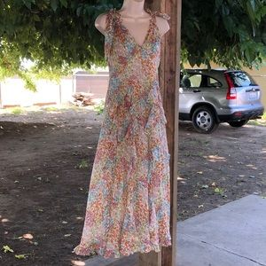 Rebecca Taylor floral silk stripe dress